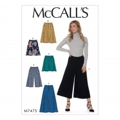 M7475 Misses' Flared Skirts, Shorts and Culottes (size: 14-16-18-20-22)