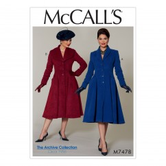 M7478 Misses'/Miss Petite Fit and Flare, Shawl Collar Coats (size: 14-16-18-20-22)