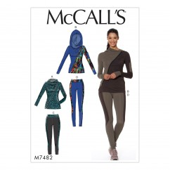 M7482 Misses' Asymmetrical-Zip Jacket and Seamed Leggings (size: 6-8-10-12-14)