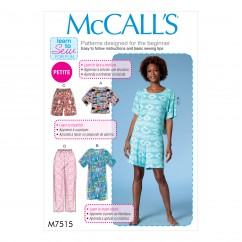 M7515 Misses'/Miss Petite Short Sleeve Top and Dress, and Pull-On Shorts and Pants (size: 16-18-20-22-24-26)