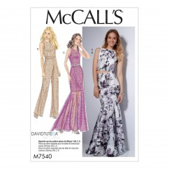 M7540 Misses' Princess Seam Top, Trumpet Dress and Skirt, and Tulip-Back Jumpsuit (size: 14-16-18-20-22)