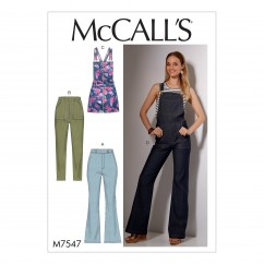 M7547 Misses' Flared Jeans and Overalls, Skinny Jeans, and Shortalls (size: 6-8-10-12-14)