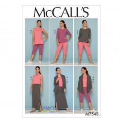 M7548 Misses'/Women's Knit Shawl Collar Jacket, Tops with Slits, and Banded Skirt and Pants (size: 18W-20W-22W-24W)