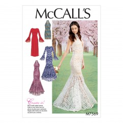 M7569 Misses' Column and Mermaid-Style Dresses with Bodice and Sleeve Variations (size: 14-16-18-20-22)