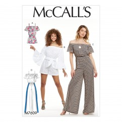 M7609 Misses' Pull-On Off-the-Shoulder Rompers and Jumpsuits with Elastic Waist and Sash (size: LRG-XLG-XXL)