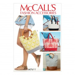 M7611 Misses' Lined Tote Bags with Contrast Variations (size: One Size Only)