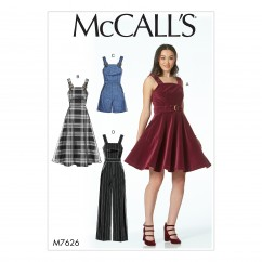 M7626 Misses' Dresses, Belt, Romper, and Jumpsuit with Pockets (size: 12-14-16-18-20)