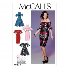 M7654 Misses'/Miss Petite Dresses with Mix-and-Match Shoulder, Sleeve, and Skirt Variations (size: 14-16-18-20-22)