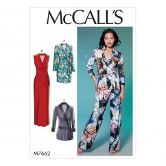 M7662 Misses' Wrap Dresses, Romper and Jumpsuit with Ties (size: 14-16-18-20-22)