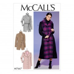 M7667 Misses' Princess Seamed Coats and Belt with Collar Options (size: 14-16-18-20-22)