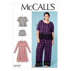 M7697 Misses'/Women's Lounge Tops, Dress, Shorts and Pants (size: 18W-20W-22W-24W)
