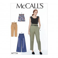M7726 Misses' Shorts, Pants and Sash (size: All Sizes In One Envelope)