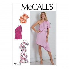 M7741 Misses' Top, Dresses and Belt (size: 6-8-10-12-14)