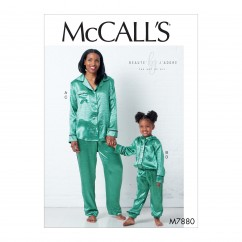 M7880 Misses'/Children's/Girls' Tops and Pants (size: 3-4, 5-6, 7-8 (Kids))