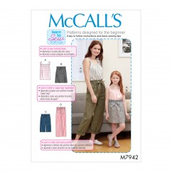 M7942 Misses', Children's and Girls' Top, Skirt, Shorts and Pants (size: All Sizes in One Envelope)