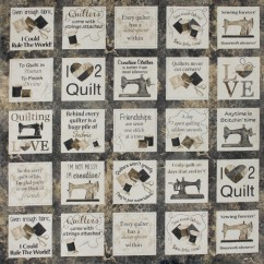 A Stitch at a Time Cotton Print - Quilting Love - Natural