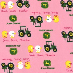 John Deere Cotton Print - Tractors and Ducks - Pink