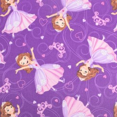 Licensed Cotton Print - Disney Princess Sofia - Purple