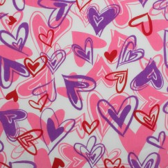 VALENTINE DAY Printed Polyester Cotton - Hearts - Purple / Pink