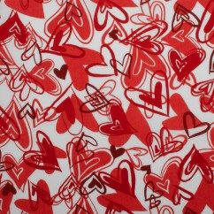 VALENTINE DAY Printed Polyester Cotton - Hearts - Red / Burgundy