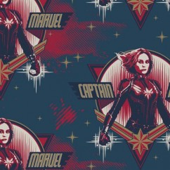 Camelot - PRIVILÈGE - Licensed Cotton Print - Captain Marvel face - Navy