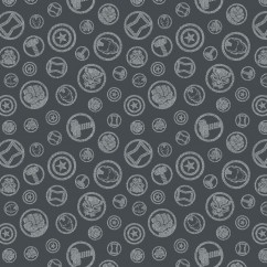 Camelot - PRIVILÈGE - Licensed Cotton Print - Avengers hero symbols - Grey