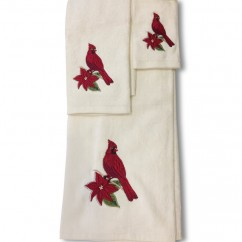 3 pc towel set - Red Cardinal - Off white