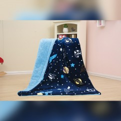 Baby Kids Printed Fleece Throw - Rockets & Stars - Navy - 50x40''