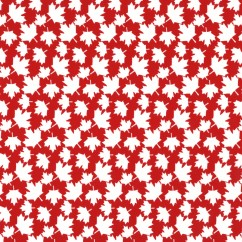 Maple Leaf Cotton Print - Red / White Small