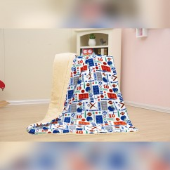 Baby Kids Printed Fleece Throw - Sports Superstar  - White - 50x40''