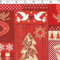 CRAFTY Christmas Cotton Print - Hearts patch - red