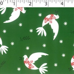 CRAFTY Christmas Cotton Print - Doves - green