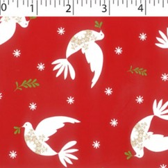 CRAFTY Christmas Cotton Print - Doves - red