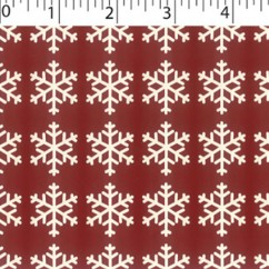 CRAFTY Christmas Cotton Print - Snowflakes - dark red