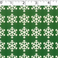 CRAFTY Christmas Cotton Print - Snowflakes - green