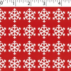 CRAFTY Christmas Cotton Print - Snowflakes - red
