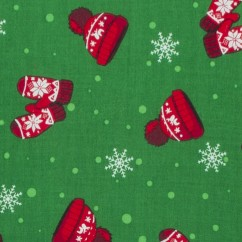 Christmas Magic Cotton Print - Mittens and hats - green