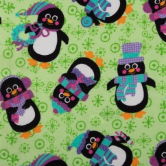 CHRISTMAS Printed flannelette - Penguin party - green