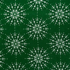 CHRISTMAS Printed flannelette - Snowflake - forest green