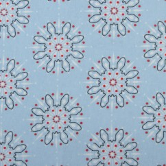 CHRISTMAS Printed flannelette - Snowflakes - sky blue
