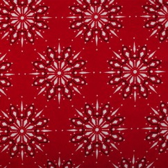 CHRISTMAS Printed flannelette  - Snowflakes - red
