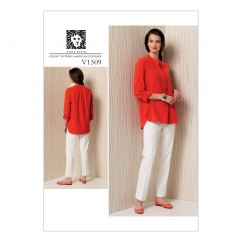 V1509 Misses' Banded Tunic with Yoke and Tapered Pants (size: 6-8-10-12-14)