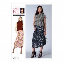 V1515 Misses' Ruffle-Neck Top and Asymmetrical Skirts (size: One Size Only)