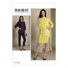 V1516 Misses' Batwing or Layered-Overlay Tops, Pencil Skirt and Pants (size: 6-8-10-12-14)