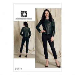 V1517 Misses' Collarless Seamed Jacket and Pull-On Pants (size: 6-8-10-12-14)