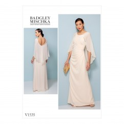V1535 Misses' Pleated and Ruched Dress with Attached Cape (size: 14-16-18-20-22)