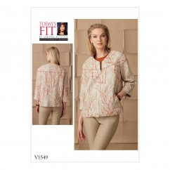 V1549 Misses' Lined Seam-Detail Jacket with Front and Back Yoke (size: A-B-C-D-E-F-G-H-I-J)