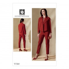 V1560 Misses' Open, Loose Jacket and Slim Pants (size: 6-8-10-12-14)
