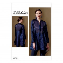 V1561 Misses' Lined Swing Jacket with Shape Detail (size: 6-8-10-12-14-16-18-20-22)