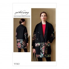 V1563 Misses' Loose Jacket with Contrast Detail and Welt Pockets (size: 14-16-18-20-22)